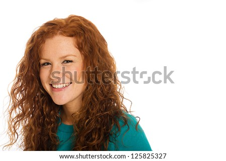 A cute girl with beautiful red hair - stock photo