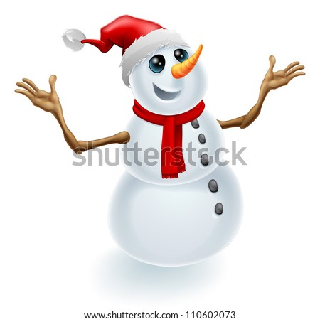 A cute happy Christmas snowman wearing a Santa hat and scarf - stock photo