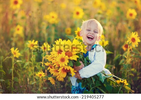 A cute little laughing girl in the field of sunflowers holding a huge bunch of flowers in a sunny summer evening.  - stock photo