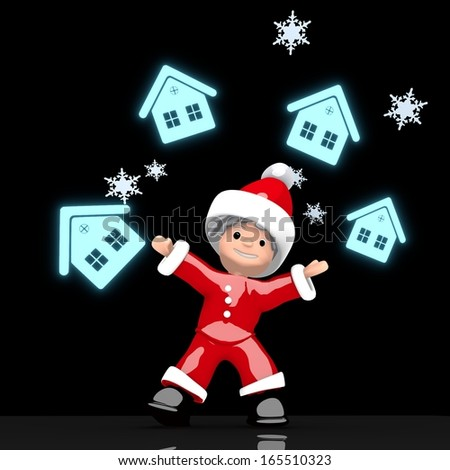 a cute Santa Claus boy rendered 3d character juggles four blue glaring house symbol isolated on black background with snowflakes - stock photo