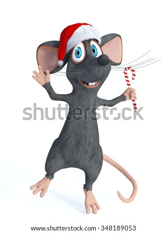 A cute smiling cartoon mouse wearing a Santa hat and jumping for joy with a candy cane in his hand. White background. - stock photo