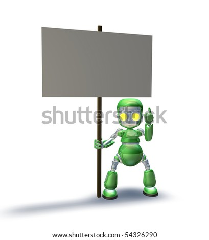 A cute sweet metal robot mascot character pointing up to a placard sign he is holding - stock photo