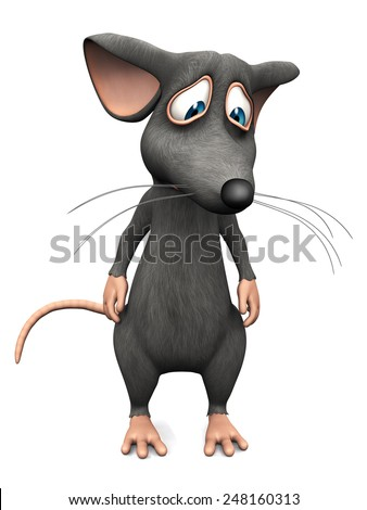 A cute upset cartoon mouse looking very sad. White background. - stock photo