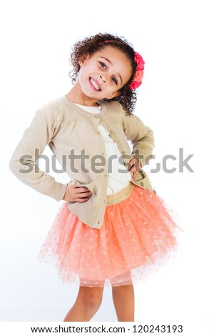 A cute young girl with a pretty smile. - stock photo