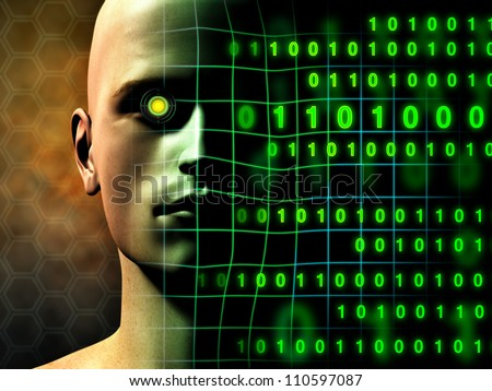 A cyborg face gradually fades into some binary code stream. Digital illustration. - stock photo