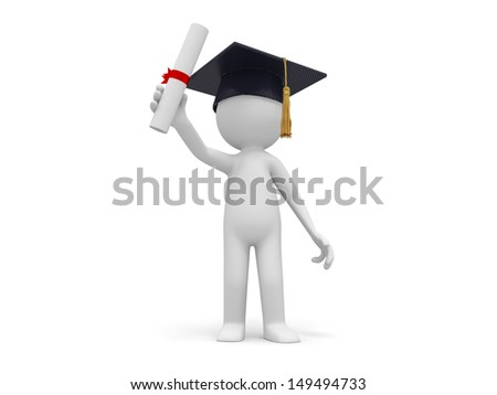 A 3d bachelor standing with a certificate in hand - stock photo