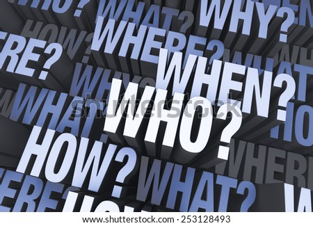 "A 3D blue gray background filled with ""WHO?"", ""WHAT?"", ""WHERE?"", ""WHEN?"", ""HOW?"", and ""WHY?"" at different depths. - stock photo"