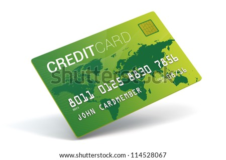 A 3D Bright green credit card on a white background - stock photo