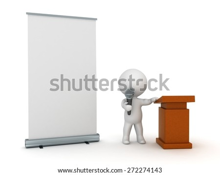 A 3D character with a microphone, lectern, and a roll-up poster. Isolated on white background.  - stock photo