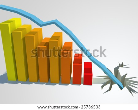A 3d color bar graph showing continual decline until the line crashes through the floor. - stock photo