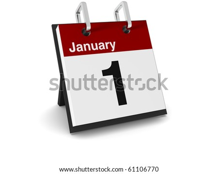 A 3D day calendar on a white background showing the date January 1st - stock photo