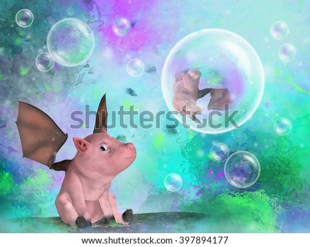 A 3d digital illustration of a fantasy pig with wings looking at bubbles in a bright whimsical landscape. - stock photo