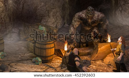 A 3d digital illustration of 2 dwarfs discovering a rock troll in their cave while mining. - stock photo