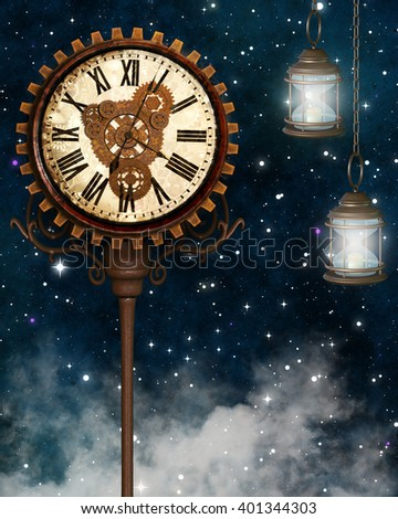 A 3d digital rendering of a clock and lanterns at night with starry sky. - stock photo