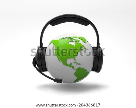 A 3d earth with a headset isolated on white background - stock photo