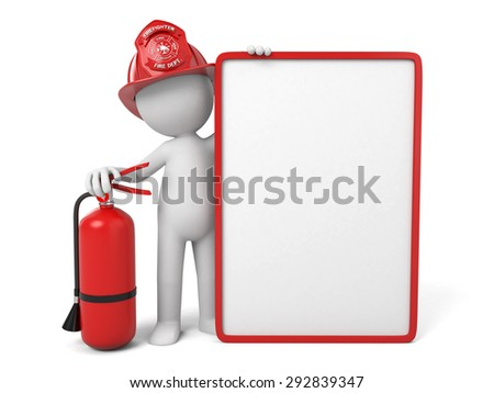 A 3d fireman standing with signboard. 3d image. Isolated white background - stock photo
