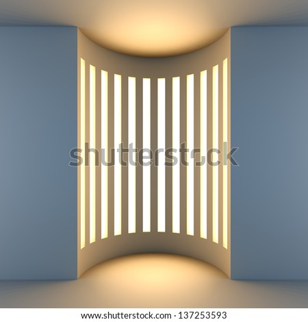 A 3d illustration blank template layout of white empty niche with back light. - stock photo