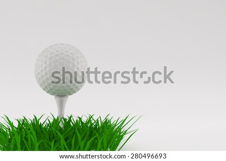 A 3D illustration of a Golf ball on grass with a white background. - stock photo