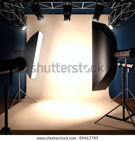 A 3d illustration of a photo studio background template. - stock photo