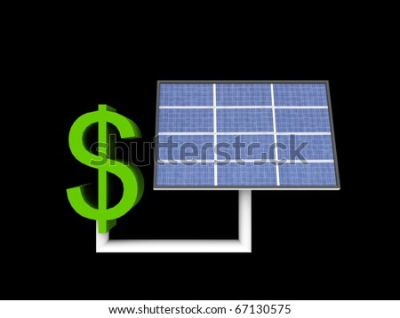 a 3d illustration of a solar panle powers a dollar sign - stock photo