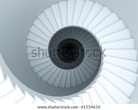A 3d illustration of a spiral stair to the infinity. - stock photo