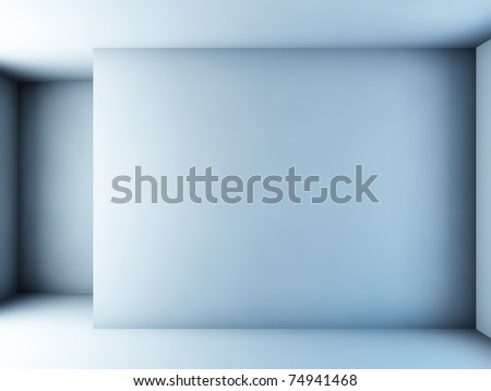 A 3D illustration of an empty white room. - stock photo