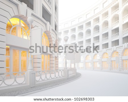 A 3d illustration of atmospheric empty street of retail stores. - stock photo