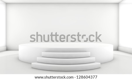 A 3d illustration of blank template layout of white empty musical, theater, concert or entertainment stage - stock photo