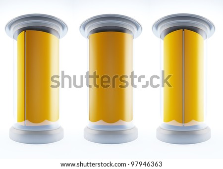 A 3d illustration of blank template pillars isolated on white background. - stock photo