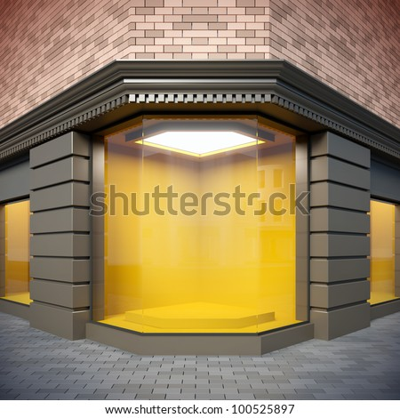 A 3D illustration of corner  showcase in classical style. - stock photo