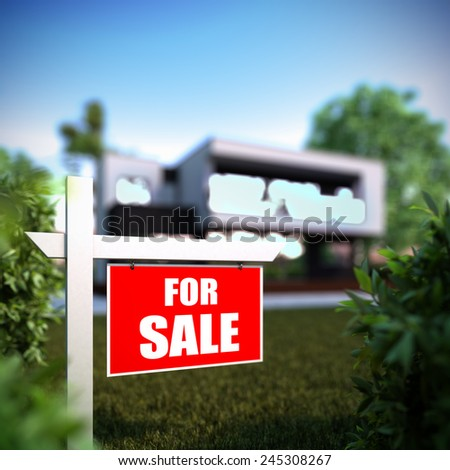 A 3D illustration of Home For Sale sign in front of new modern house.  - stock photo