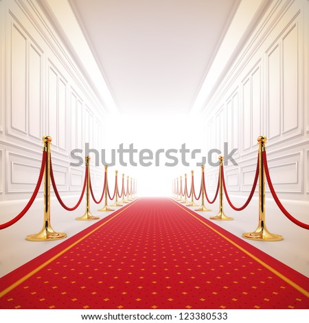 A 3d illustration of red carpet path to the success light. - stock photo
