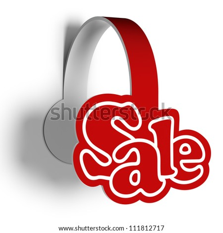 A 3d illustration of sticker for sellout various products. Sale wobbler. - stock photo