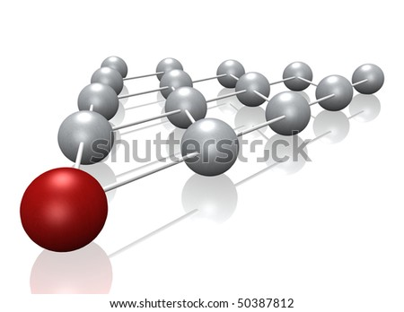 A 3d illustration showing a pyramid scheme, also known as snowball system. All on white background. - stock photo