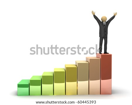 A 3d image of happy businessman, which stands on the top of higher graph. - stock photo