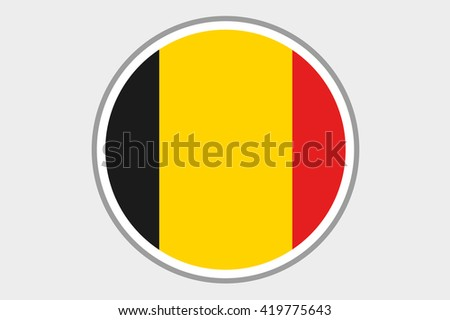 A 3D Isometric Flag Illustration of the country of Belgium - stock photo