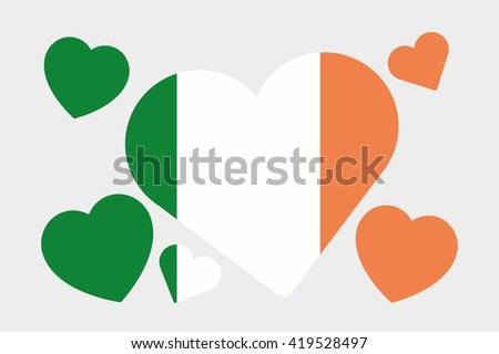 A 3D Isometric Flag Illustration of the country of Ireland - stock photo