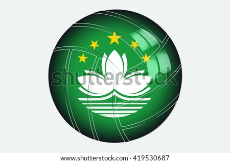 A 3D Isometric Flag Illustration of the country of Macau - stock photo