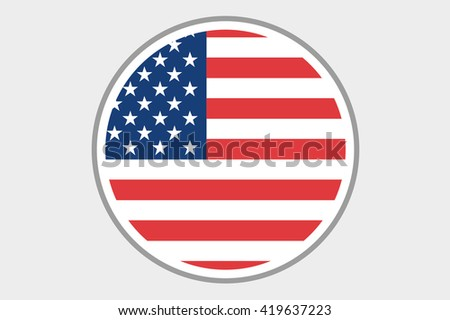 A 3D Isometric Flag Illustration of the country of United States of America - stock photo