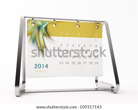a 3d maded calendar for 2014 - stock photo