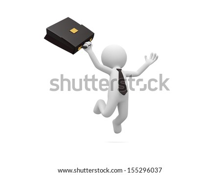 A 3d man, businessman with a briefcase jumping isolated white background - stock photo