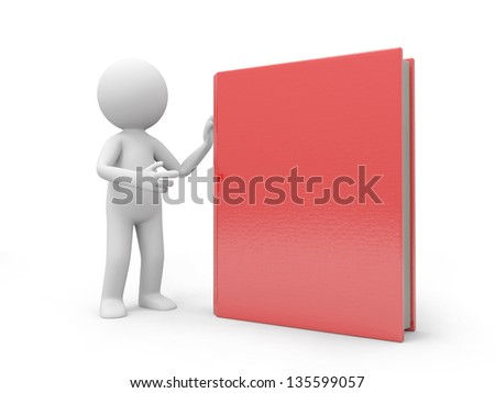 A 3d man introducing a red book to the people - stock photo