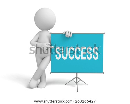 a 3d man introducing something about success, standing by a flip-chart - stock photo