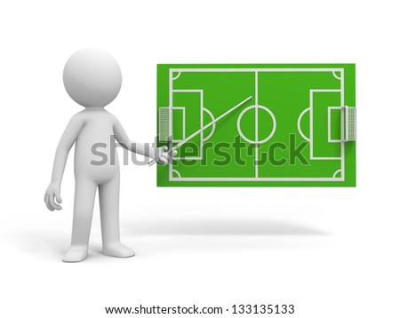 A 3d man pointing to a football field model - stock photo