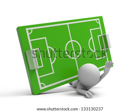 A 3d man pressed by a football field model - stock photo