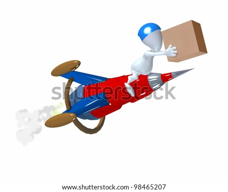 A 3d man speedy delivery illustration - stock photo