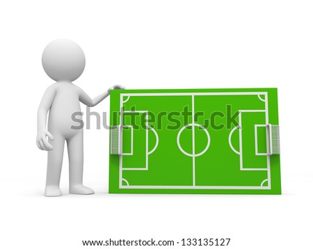 A 3d man standing at a football field model - stock photo