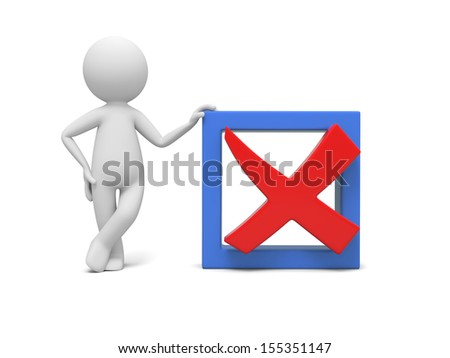 A 3d man standing by a check mark - stock photo