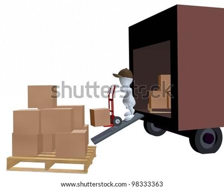 A 3d man unloading an express package truck - stock photo