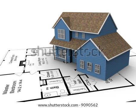 A 3D model of a new house set on some architectural plans. - stock photo